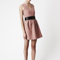 Dusty Pink Pout Dress - Vee-neck, waist gathers with a full skirt, playful