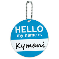 Kymani Hello My Name Is Round ID Card Luggage Tag