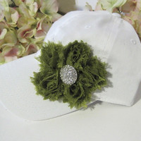 White Garment Washed Light Weight Trucker Baseball Cap with Olive Green Flower and Rhinestone Accent Pony Tail Buckle Back Hats