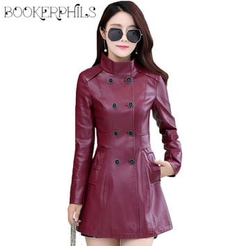 Double Breasted Long Leather Coats Plus Size 4XL Women Stand Collar Faux Leather Jacket Jaqueta Couro Jaqueta De Couro Feminina