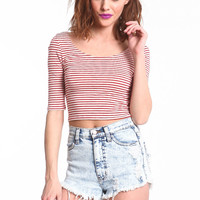 STRIPED SCOOPBACK CROP TOP