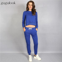 Gagalook 2016 Brand Both Sides Slit Tracksuit Women Track Suit Slim Fit Sweatsuit 2 Two Piece Set Sweatshirt and Pants S0070
