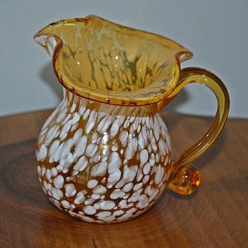 Art Glass,Amber Glass, White Spatter, Miniature Pitcher, Creamer