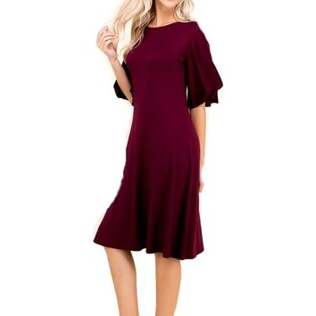 Flutter Sleeve Jersey Midi Dress, Burgundy