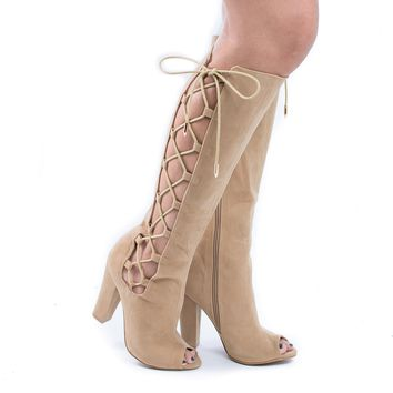 Laurent-s Camel Gunmetal By Shoe Republic, Knee High Lace Up Peep Toe Block High Heel Boots
