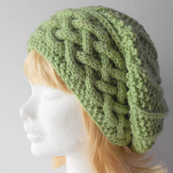 Outdoor Gift for her. Warm Winter Hat. Green Slouchy Hat. Women's slouch hat. Cable Band Slouchy Hat. Trendy winter hat gift. Irish knit