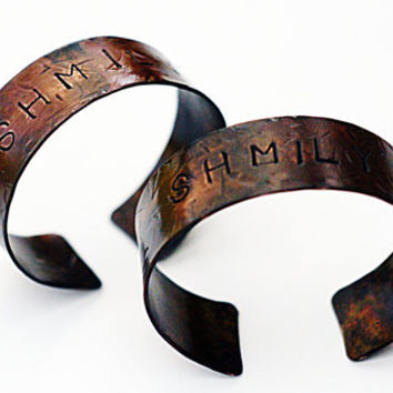 His and Her Bracelets, Matching Couple Jewelry, Customized Copper Cuffs, SHMILY Love Bracelet