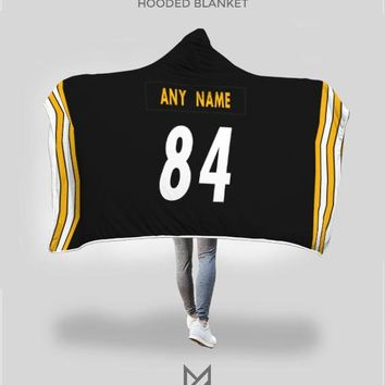 Pittsburgh Steelers Hooded Blanket - Personalized Any Name & Any Number