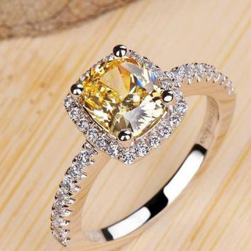 Yellow 7 1 Carat Princess Cut Engagement Wedding Rings For Women Super Flash Simulated Diamond Silver bague femme Valentines Day Gift