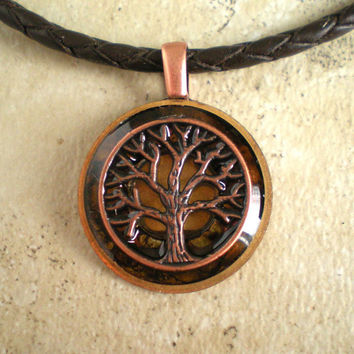 Tree of Life Necklace: Brass Celtic Knot - Mens Necklace - Mens Jewelry - Celtic Jewelry - Tree Jewelry - Boyfriend Gift - Cord Necklace