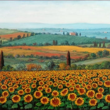 Italian painting bloomed landscape sunflowers field Tuscany countryside original oil on canvas of Antononio Berti Italy
