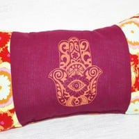 Hamsa Chair Cushion Lumbar Pillow Hamsa and Maroon Fire Flower