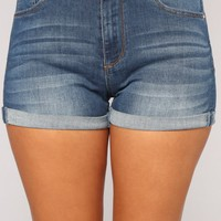 Beach Dayz Denim Shorts - Medium Blue Wash