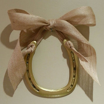 New! Decorated Gold Horseshoe, Cream Jute Ribbon, Custom Gift Tag-horse shoe, horseshoe, horseshoe decor, horse shoe art, Lucky Pony Shop