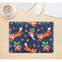 "The Running Orange & Navy Vector Fox Pattern Skin Kit for the 12"" Apple MacBook"