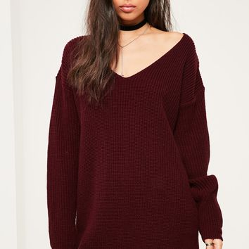 Missguided - Burgundy V Neck Slouch Jumper Dress