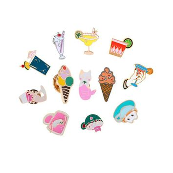 Trendy Summer Ice Cream Juice Brooch for Women Cartoon Enamel Pin Beach Hat Denim Jackets Lapel Badges Pins Jewelry Shirts Decorations AT_94_13