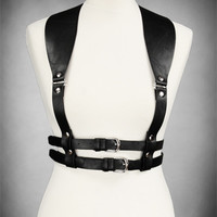 Steampunk Gothic Black Underbust harness WIDE STRAPS harness BELT