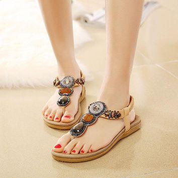 Female Flip Flops 2017 Summer Women New Fashion Sandals Beach Bohemian Flat Shoes Wild