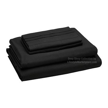 Twin XL / Dorm / Hospital Bed Sheets - Black - Deep Sleep 1800 Thread Count Sheet Set - Breathable, Moisture Wicking, Ultra Soft, Wrinkle Free