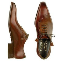 Forzieri Designer Shoes Brown Italian Handcrafted Leather Cap Toe Dress Shoes