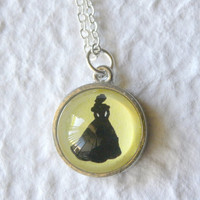 Belle and Enchanted Rose Double Sided Petite Disney Necklace - Inspired from Disney's Beauty and the Beast PICK Your two faves