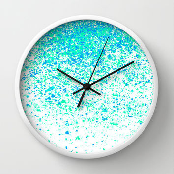 sparkling mint Wall Clock by Marianna Tankelevich