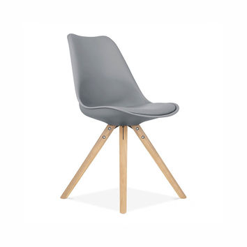 Viborg Mid Century Grey Side Chair with Natural Wood Base (Set of 2)