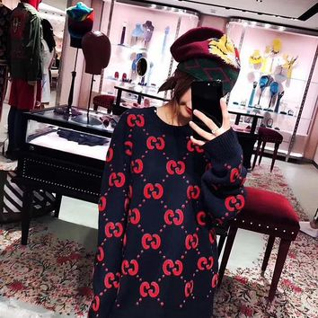 One-nice™ '' GUCCI '' Fashion Embroidery Sleeve Top Sweater Pullover