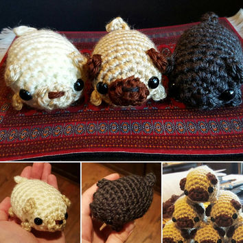 Mini Fat Pug Dog Amigurumi Crochet Plushie - Choose Your Own Color - White, Fawn, or Black - MADE TO ORDER