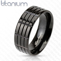 8mm Triple Grooved Solid Titanium Black IP Band Men's Fashion Ring