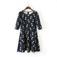 Winter Print Three-quarter Sleeve Slim Dress Skirt One Piece Dress [4917801860]