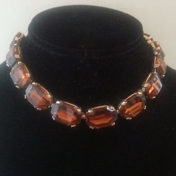 Vintage Rhinestone Necklace, Chunky Choker Collar Necklace, 1950's 1960's Mad Men Mod Jewelry,  High End Old Hollywood Glam