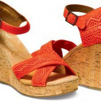 Coral Crochet Women's Strappy Wedges | TOMS.com