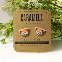 Red panda Stud Earrings / animal stud / animals earring/ Red panda earrings/ wild animals stud earrings