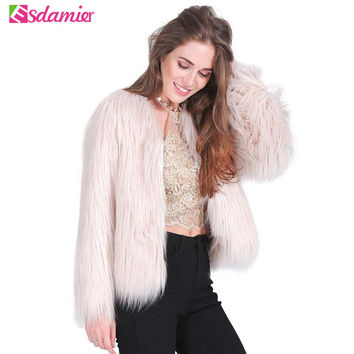 9b32f7aa25 Pink Women's Faux Fur Coat Autumn Winter Luxury Furry Coat Shagg