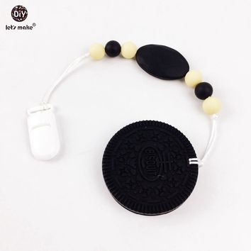 Let's make Cookie teether 100% BPA free  Silicone Teether Baby Shower Present Black and White Oreo ed Teether Clip