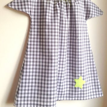 Girls dress - Gingham Fabric - Neon - French Style - Sizes for Babies, Toddlers and Girls from 1T to 6Y