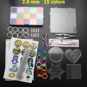 15 Colors 8000pcs 2.6mm EVA Hama Beads Set Toy DIY Perler Beads Pegboard Puzzle Jigsaw Board Educational Toys For Children Adult