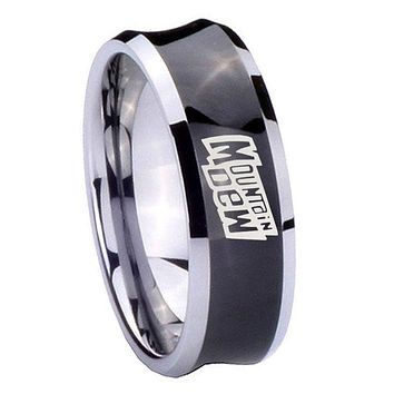 8MM Black Concave Mountain Dew Two Tone Tungsten Carbide Laser Engraved Ring