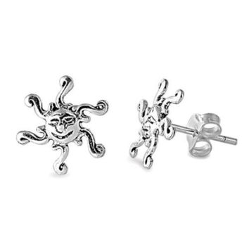 Sterling Silver Sun Stud Earrings