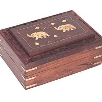 Indiabigshop Wooden Jewelry Box Brass Inlay Unique Elephant Design 7 X 5 Inches , Special Gift for Christmas or Birthday to Your Loved Ones