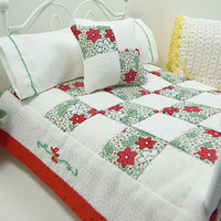 Artisan Dollhouse Miniature 1:12 Red Floral Doll Quilt Bed Accessory Patchwork Cottage Comforter Bedspread Quilted Bedding Pillow Pillowcase