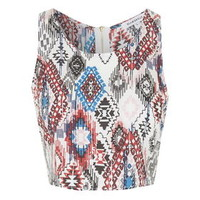 **Azted Print Crop Top by Glamorous - Blue