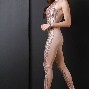 Metallic Sequin Mock Neck Sleeveless Jumpsuit