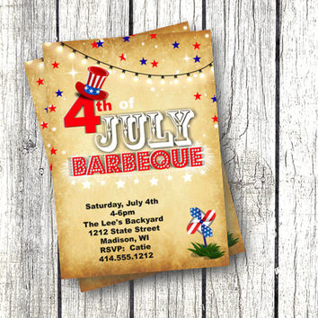 4th of July Invitation vintage barbeque bbq invitation printable red white and blue firework invite rustic independence day flag