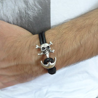 Men's Black Leather Bracelet, Men's Jewelry,  Skulls Bracelet, Double Men's Cuff Bracelet, Valentine's Gifts