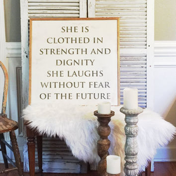 Proverbs 31:25 2x2 Handpainted Wood Sign