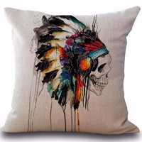 Indian Skull Pillow