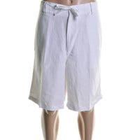 Cubavera Mens Linen Drawstring Casual Shorts